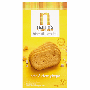 Nairn's Gluten Free Biscuit Breaks Oats & Stem Ginger 160g Image
