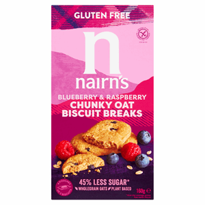 Nairn's Gluten Free Biscuit Breaks Chunky Oats, Blueberry & Raspberry 160g Image