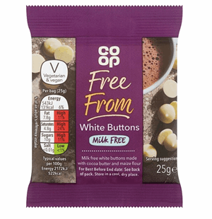 Co Op Free From White Chocolate Buttons 25g Image