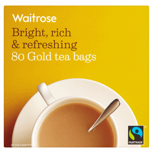 Waitrose Fairtrade 80 Gold Tea Bags 250g Image