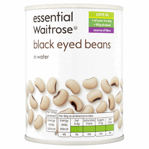 Essential Waitrose Black Eyed Beans in Water 400g Image