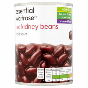 Essential Waitrose Red Kidney Beans in Chilli Sauce 395g Image
