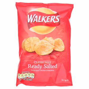 Walkers Ready Salted Crisps 32.5g Image