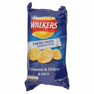 Walkers Cheese & Onion Crisps 6x25g Image
