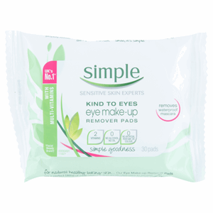 Simple Kind to Eyes Make-Up Remover Pads 30 Pads Image