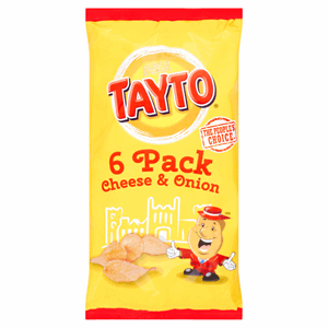 Tayto Cheese & Onion Flavour Potato Crisps 6 x 25g (150g) Image