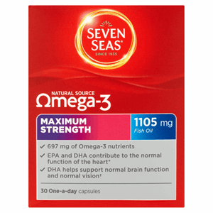 Seven Seas Natural Source Omega-3 Maximum Strength 1105mg Fish Oil 30 One-a-Day Capsules Image