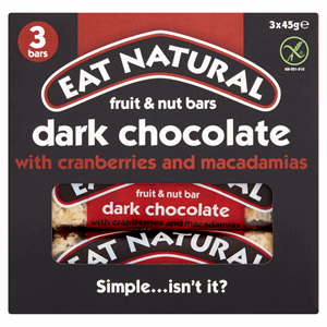 Eat Natural Fruit & Nut Bars Dark Chocolate with Cranberries and Macadamias 3 x 45g Image