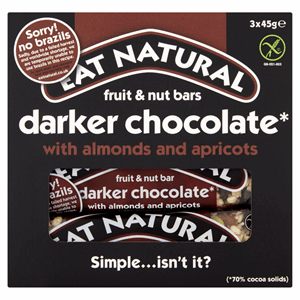Eat Natural Fruit & Nut Bars Darker Chocolate With Almonds And Apricots 3 x 45g Image
