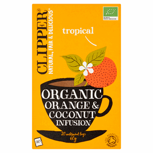 Clipper Organic Orange & Coconut Infusion 20 Unbleached Bags 60g Image