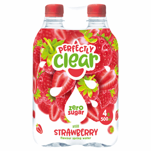 Perfectly Clear Still Strawberry Flavour Spring Water 4 x 500ml Image