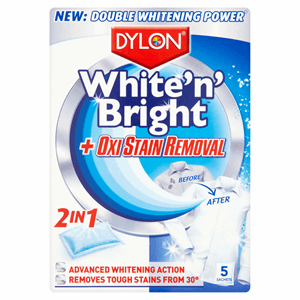 Dylon White 'N' Bright + Oxi Stain Removal 2 in 1 5 x 30g (150g) Image