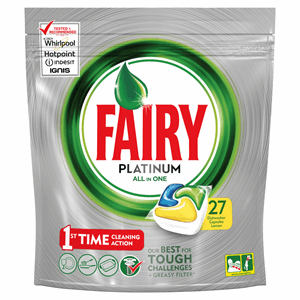 Fairy Platinum Dishwasher Capsules Lemon 27 per Pack Image